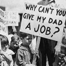 Children holding picket signs